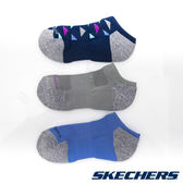 【SKECHERS女襪  促銷95折】SKECHERS(女) 運動踝襪 一組三雙 海軍藍x灰x藍 -  S108798-460