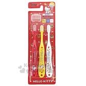 〔小禮堂〕Hello Kitty 兒童牙刷組附牙刷蓋《3入.紅白黃.餅乾》3-5歲適用.學童牙刷 4973307-46335