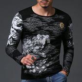 長袖T恤 2015秋季男裝長袖潮印花圓領新款修身T恤 3005 珍妮寶貝