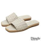 Dingle丁果ღ一字帶方頭編織平底涼拖鞋(三色大尺碼34-43)