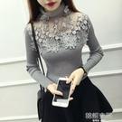 高領打底衫女蕾絲毛衣秋冬季女裝上衣甜美網洞鏤空套頭長袖針織衫-完美