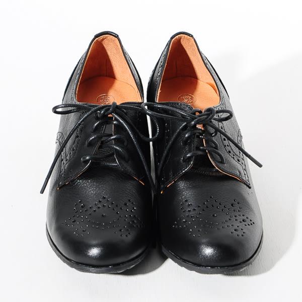 ★新品上市★GREEN PINE 英倫魅力雕花粗跟牛津鞋-黑色