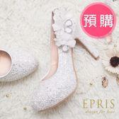 預購 MIT小中大尺碼圓頭高跟鞋 山楂花女神 內增高水鑽花朵真皮鞋墊高跟鞋 21-27 EPRIS艾佩絲