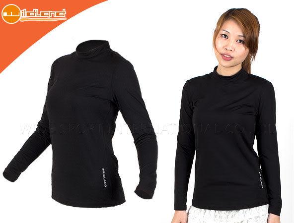 WILDLAND 女高領長袖T恤-黑(保暖衣 刷毛 遠紅外線 內穿外搭≡排汗專家≡