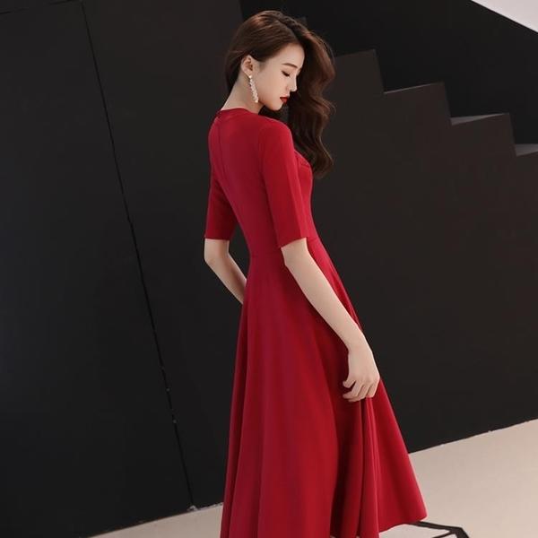 ★新娘敬酒服中長款禮服答謝宴訂婚洋裝連身裙