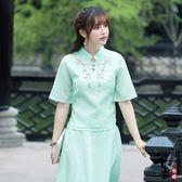 裝中國風刺繡改良旗袍盤扣修身淑女復古上衣