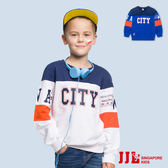 JJLKIDS 男童 城市男孩圓領拼接純棉長袖上衣T恤(2色)