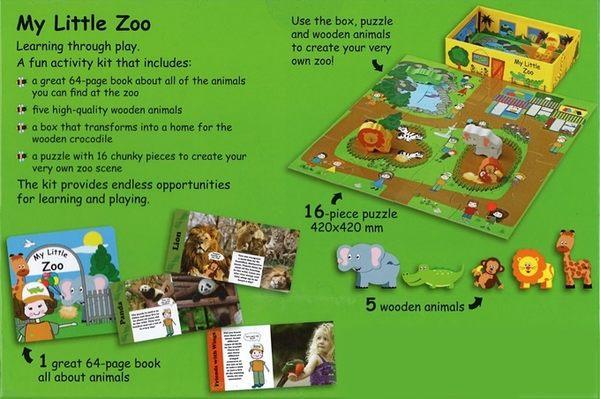 【我的夢想城鎮 My Little Village】 動物園: My Zoo /內含故事書+拼圖+木質偶
