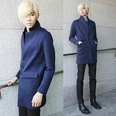 西裝外套-時尚立領純色百搭中長版大衣72p11【巴黎精品】