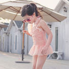 泳衣 泳裝 女童 蕾絲兒童泳衣 連體裙式女孩寶寶溫泉泳裝 【莎芭】