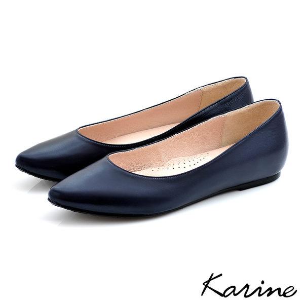 全真皮尖頭內增高楔型鞋-暗藍‧MIT台灣製‧karine