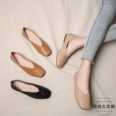 豆豆鞋女方頭淺口平底鞋軟皮奶奶鞋平底鞋【時尚大衣櫥】