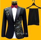 男禮服結婚西裝修身西服套裝晚禮服舞臺主持人歌手演出服司儀加肥   夢曼森居家