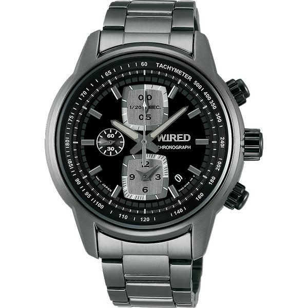 WIRED Reflection 時空跳躍計時碼錶-黑x鍍灰/43mm 7T92-X271F(AF8U21X1)