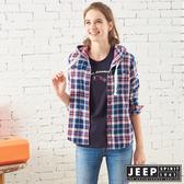 【JEEP】女裝 經典格紋連帽襯衫式外套 (藍格紋)