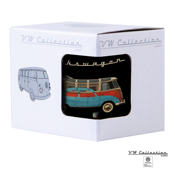VW Brisa老福斯-T1 Bus & Beetle 琺瑯馬克杯-黑