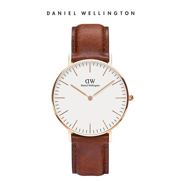 Daniel Wellington DW 手錶 36mm玫瑰金框 Classic 棕色真皮皮革錶