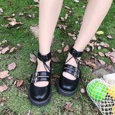 日系新款軟妹兩穿小皮鞋厚底圓頭女鞋洛麗塔少女學生鞋可愛娃娃鞋  極有家