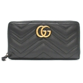 GUCCI 古馳 黑色牛皮金色GGㄇ字型長夾 GG Marmont Zip Around Wallet 【BRAND OFF】
