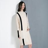 羊毛連身裙-圓領撞色線條長袖針織女洋裝3色73uj3[巴黎精品]