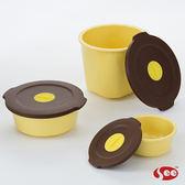 【S.E.E.】 Breere會呼吸的保鮮盒(三件組/圓形)-馬卡龍黃