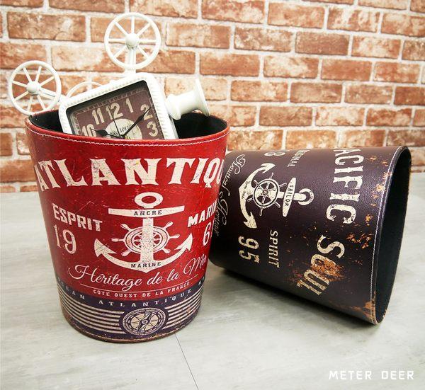 垃圾桶 收納桶 皮革製廢紙簍 復古海軍船錨航海時代美式英倫風 防潑水擺飾玩具收納桶-米鹿家居