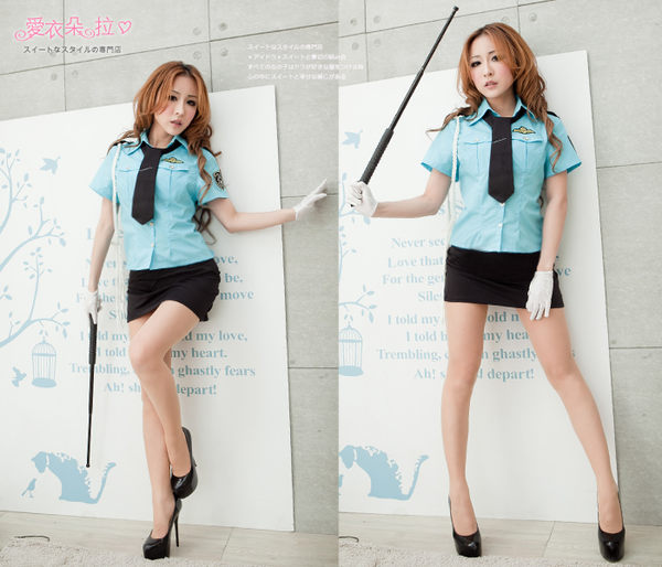 女警察制服 變裝派對角色扮演 藍色前扣式短袖襯衫窄裙套裝- 愛衣朵拉