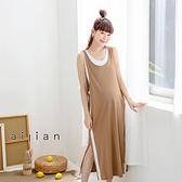 愛戀小媽咪 正韓 孕婦裝 運動風白直條側開衩棉質背心洋裝