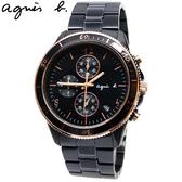 【萬年鐘錶】agnes b. 巴黎時尚 三眼計時碼錶 黑錶面 黑金框 黑殼  43mm VK67-KXB0K (B7A004X1)