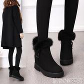 新款冬季兔毛雪地靴女短筒內增高百搭加絨保暖磨砂短靴女棉鞋    MOON衣櫥