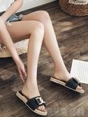 沙灘鞋 拖鞋女外穿時尚百搭女士2019新款涼拖鞋外出鞋子夏厚底網紅沙灘鞋 簡而美