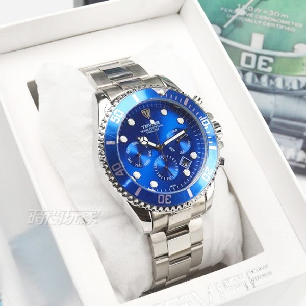TEVISE特威斯 自動上鍊機械 男錶 簍空 鏤空錶背 機械錶 防水手錶 精美包裝盒 藍 T526藍