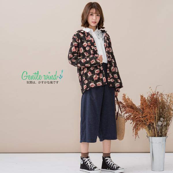 印花蕾絲連帽外套(2色)-F【Gentle wind 輕輕.吹】