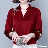 中袖t恤女絲綢緞面中老年媽媽秋季新款半袖寬鬆遮肚洋氣小衫 蘇菲小店