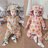 寶寶秋裝套裝女0一1歲嬰兒衣服女保暖連身衣冬季外出抱衣潮服哈衣 新年鉅惠