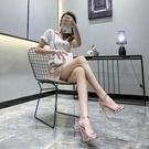 2021年新款夏季一字帶扣涼鞋細跟銀色性感仙女風12CM床上高跟鞋子 夜店舞臺表演高跟鞋