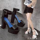 夏高跟粗跟防水臺露趾一字扣帶涼鞋12cm超高跟ol時尚女鞋千千女鞋