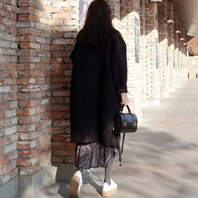毛呢大衣 中長款-時尚流行寬鬆百搭女風衣外套73ki92[巴黎精品]