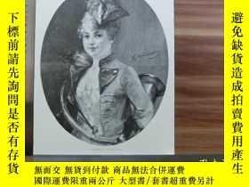 二手書博民逛書店【罕見】1890年小幅木刻版畫《吹樂器的女孩》(zum rend
