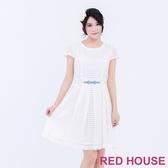 【RED HOUSE 蕾赫斯】圓領透膚條紋洋裝(經典白)-單一特價