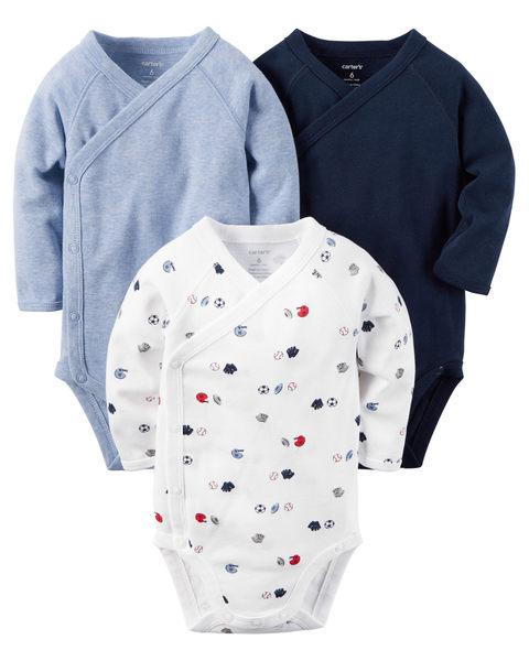 【美國Carter's】長袖包屁衣3件組 - 小小運動員系列 126G253