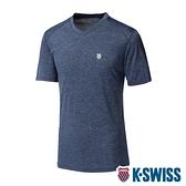 【超取】K-SWISS Heather V Neck Tee涼感排汗V領T恤-男-藍