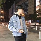 秋季連帽牛仔外套春秋2018新款寬鬆夾克韓版牛仔衣淺色水洗夾克男