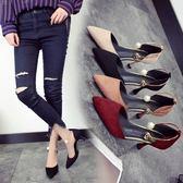 女夏季細跟鞋新款尖頭淺口細跟高跟鞋包頭一字扣包頭百搭涼鞋女中跟