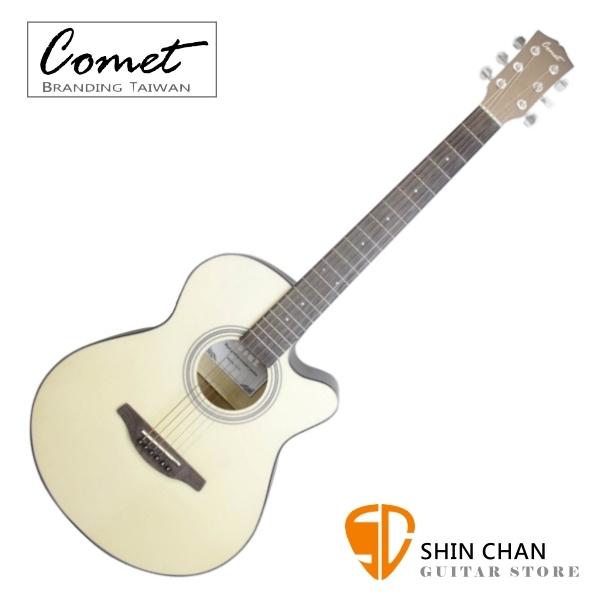 Comet C100 40吋 切角民謠吉他 原木色 附贈Pickx2、移調夾、背帶、吉他袋