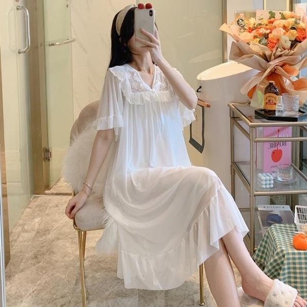 睡裙 睡裙女夏2021年新款短袖純棉公主風睡衣蕾絲花邊春秋莫代爾家居服 非凡小鋪