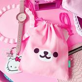 《花花創意会社》外流。熊妹妹耳朵粉紅束口袋【H6545】