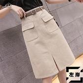 牛仔半身裙子女a字款短裙中長款高腰包臀黑色長裙【左岸男裝】