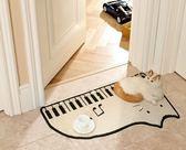 可愛卡通床前毯床邊毯 貓咪鋼琴 創意臥室客廳沙發床邊床前地毯