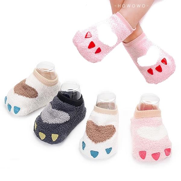 嬰兒襪 珊瑚絨加厚 寶寶襪 小爪子 止滑怪獸襪 0-4歲 CA1762 好娃娃
